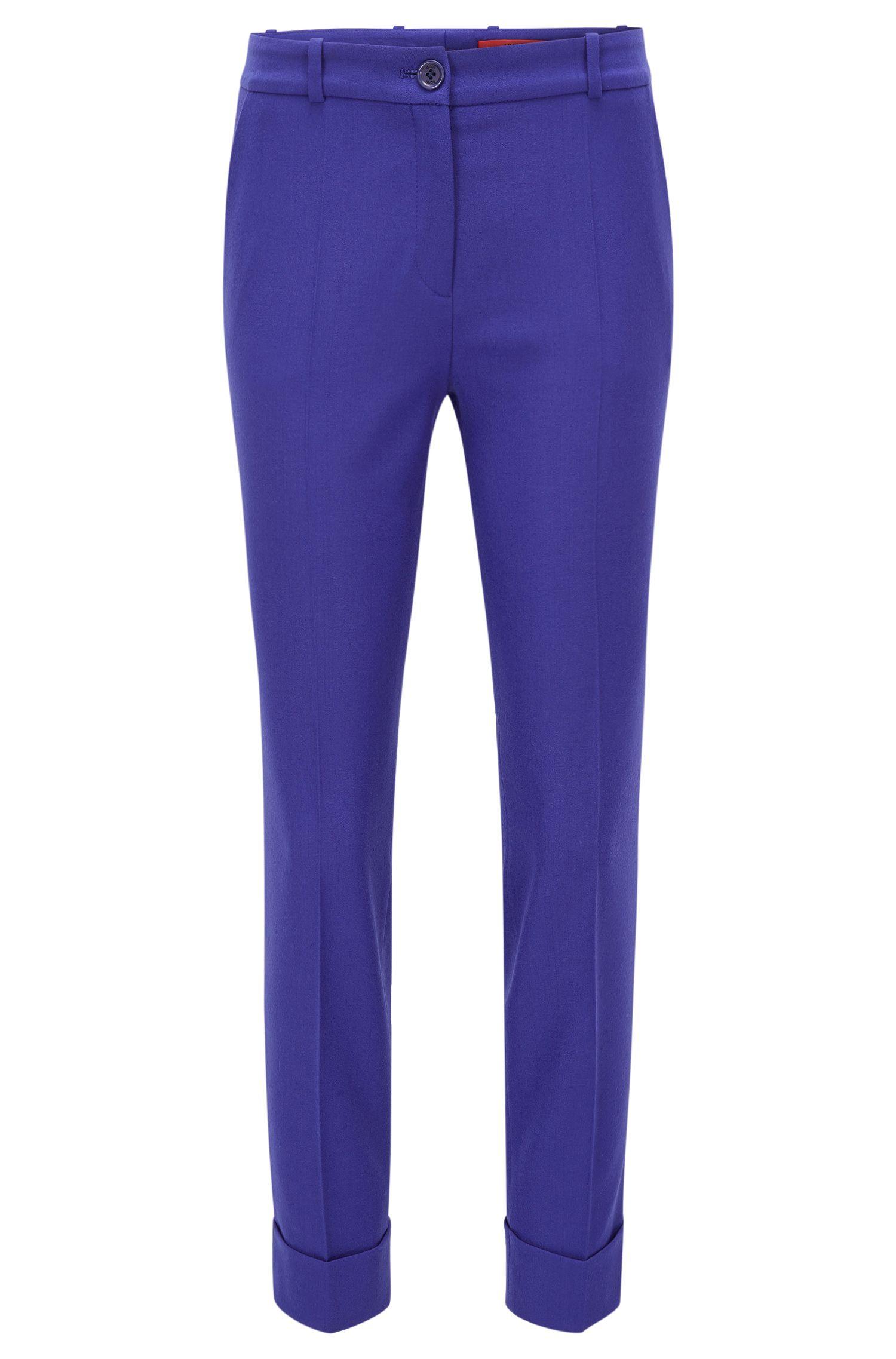 Slim-fit, cropped broek van een wolmix