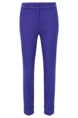 Slim-Fit-Hose in Cropped-Länge aus elastischem Schurwoll-Mix, Blau