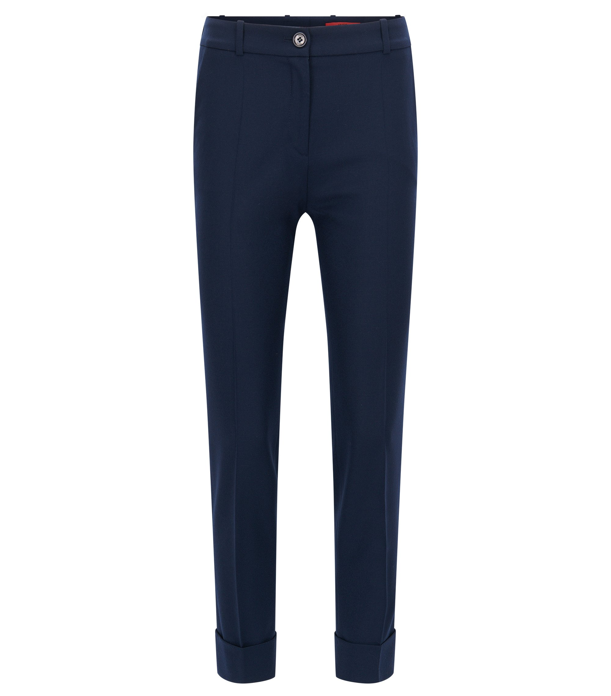 Slim-fit cropped trousers in a wool mix, Dark Blue