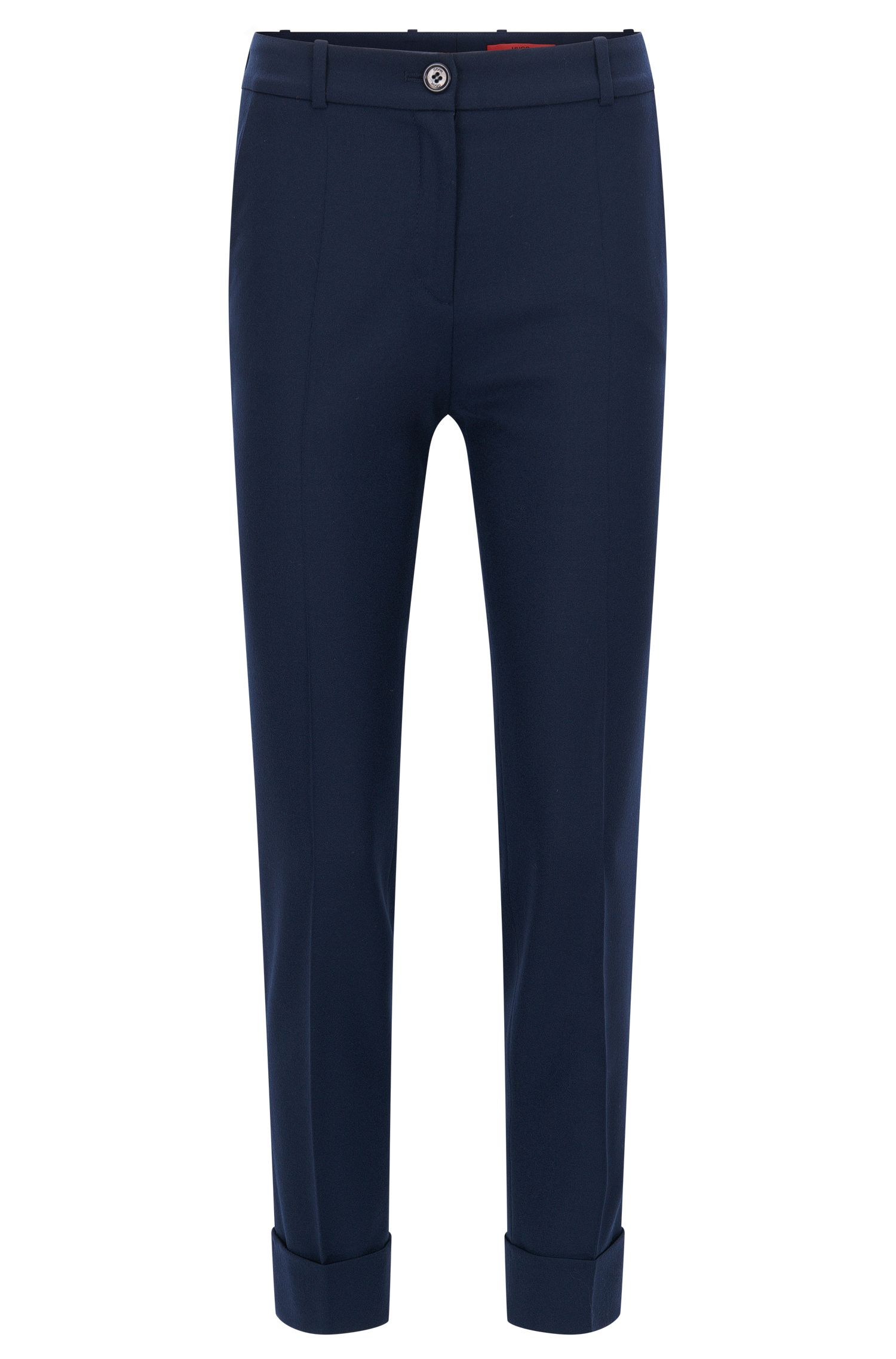 Slim-fit cropped trousers in a wool mix