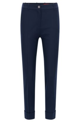 Slim-Fit Hose in Cropped-Länge aus Stretch-Schurwolle, Dunkelblau
