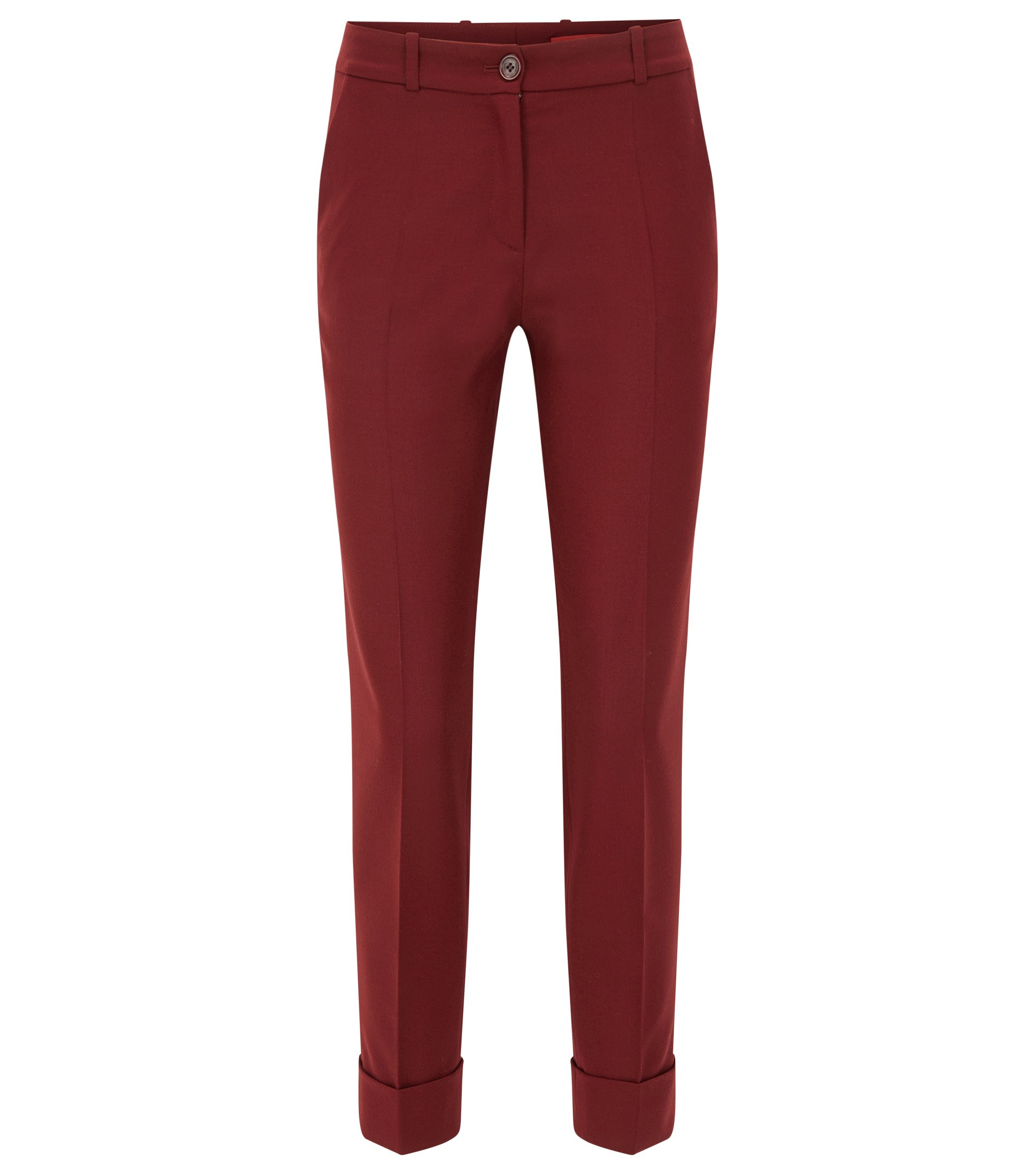 Slim-fit cropped trousers in a wool mix, Dark Red