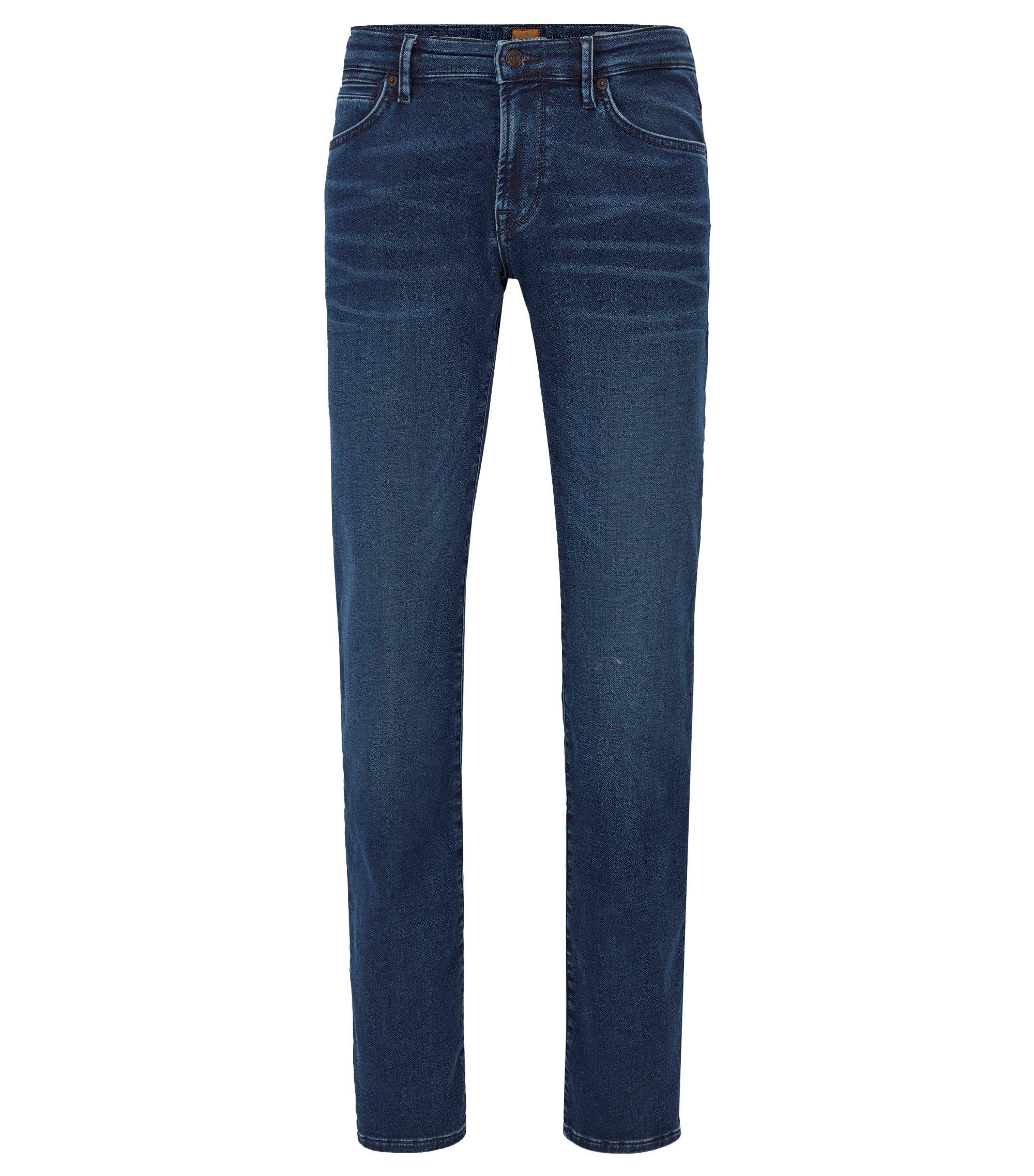 Regular-Fit Jeans aus gestricktem Baumwoll-Mix mit Elasthan, Blau