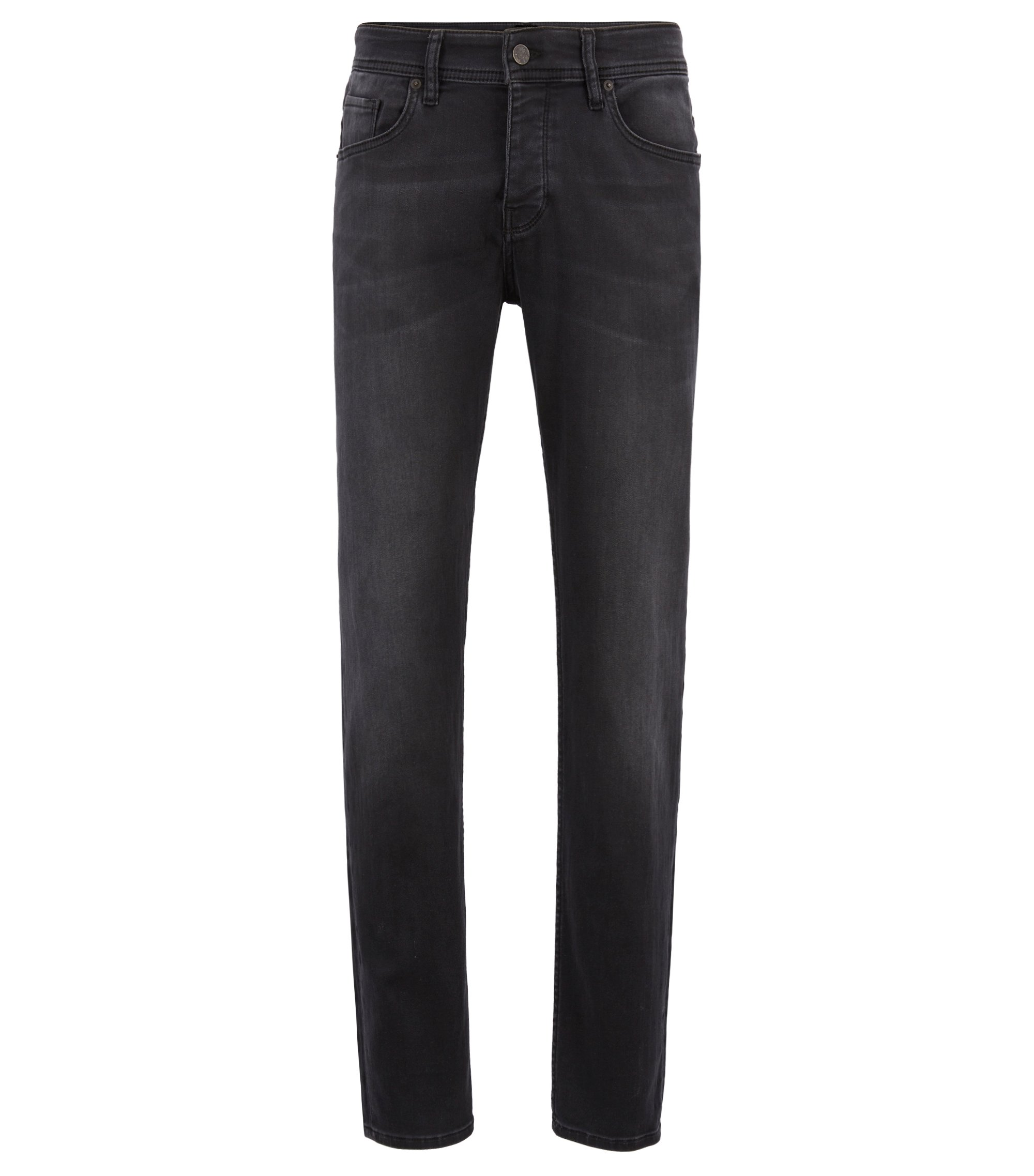 Tapered-fit jeans van super-stretchdenim, Zwart