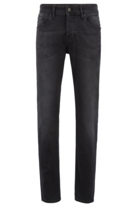 Tapered-Fit Jeans aus Stretch-Denim, Schwarz