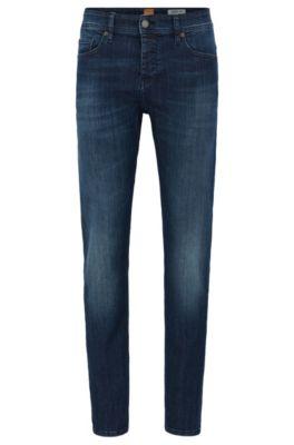 Jeans Tapered Fit en denim super stretch, Bleu