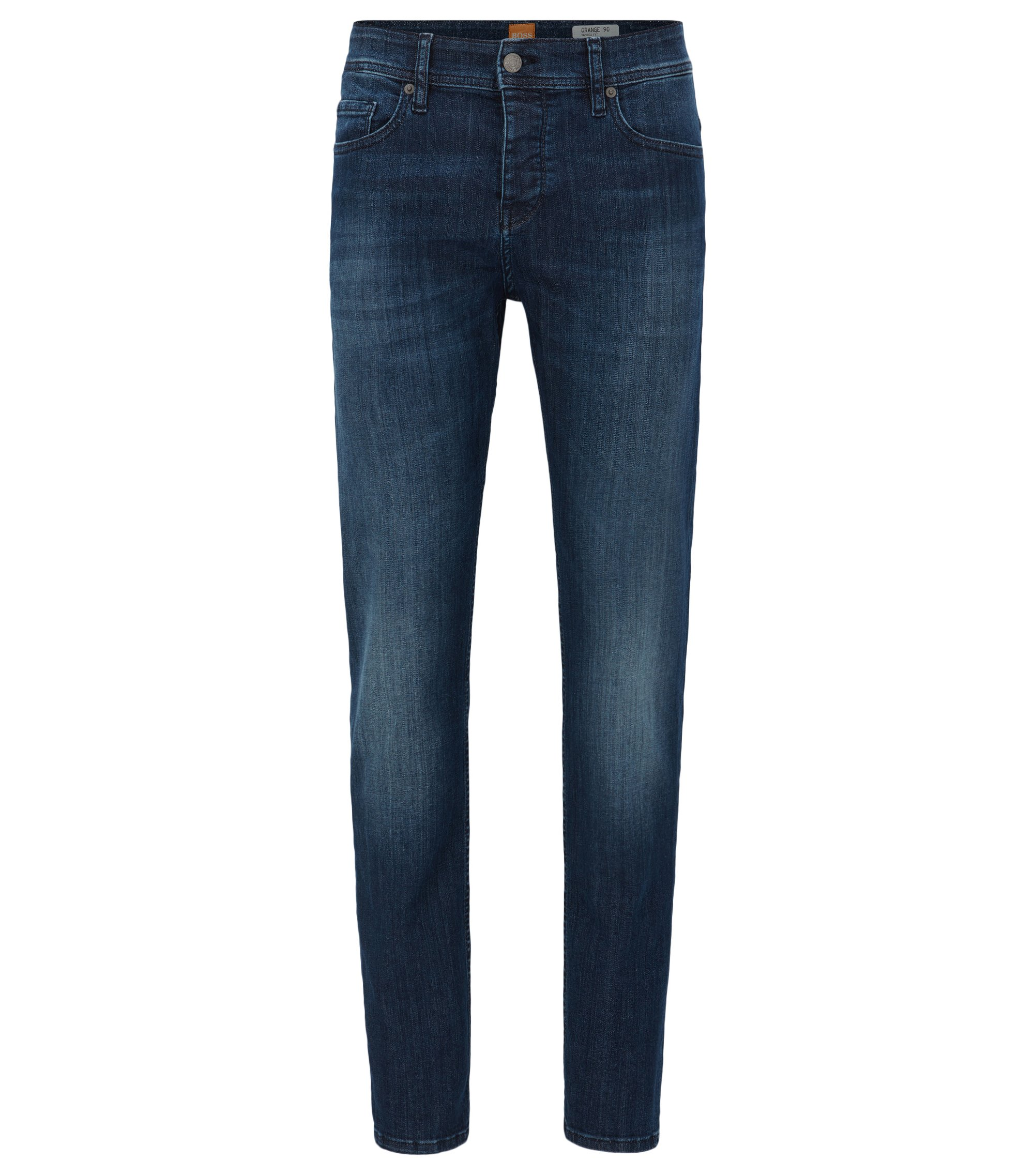 Tapered-fit jeans van super-stretchdenim, Blauw
