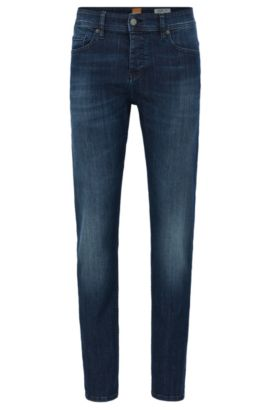 Super-stretch denim jeans in a tapered fit, Blue