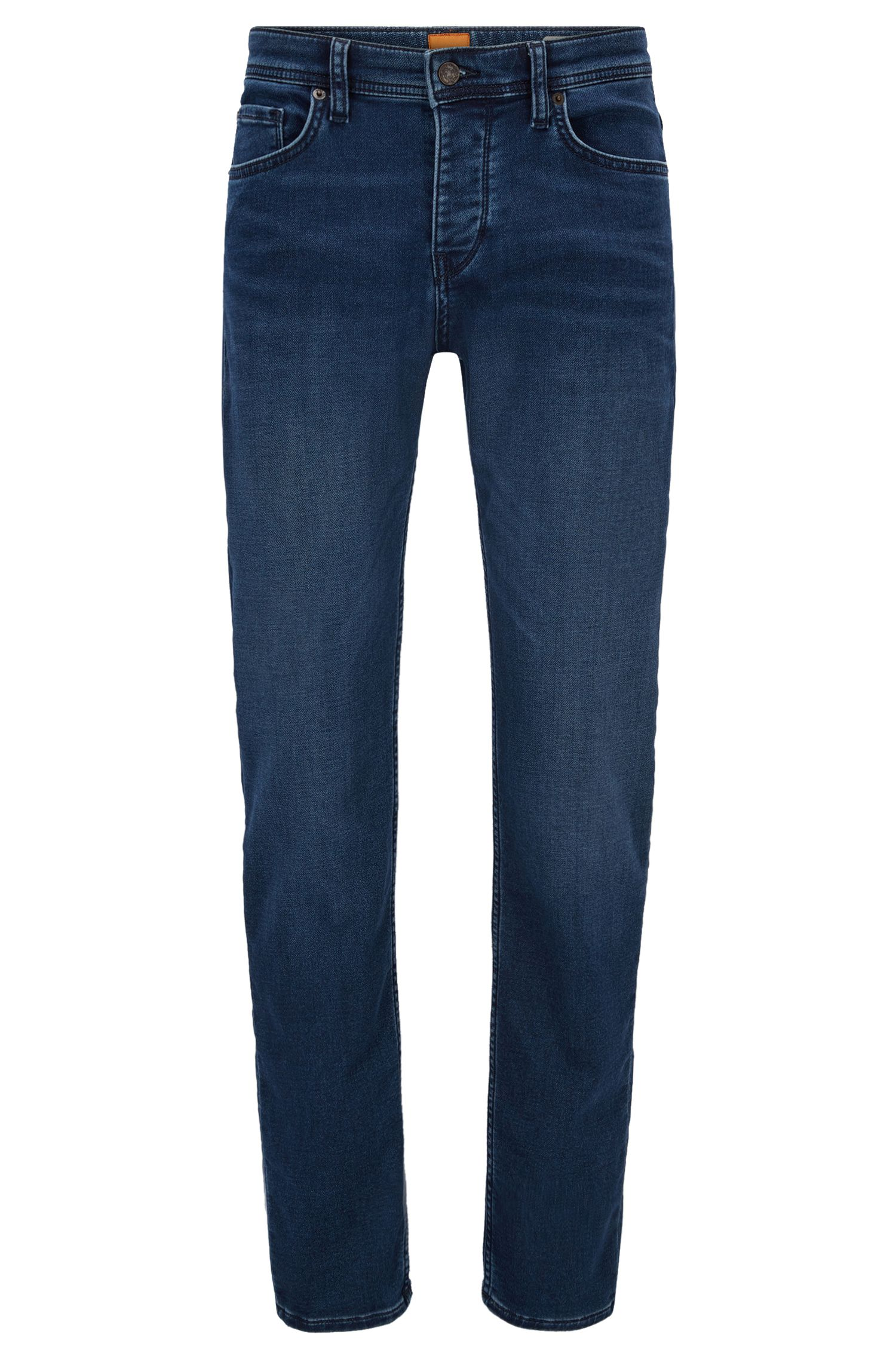 Tapered-fit jeans van gebreid denim