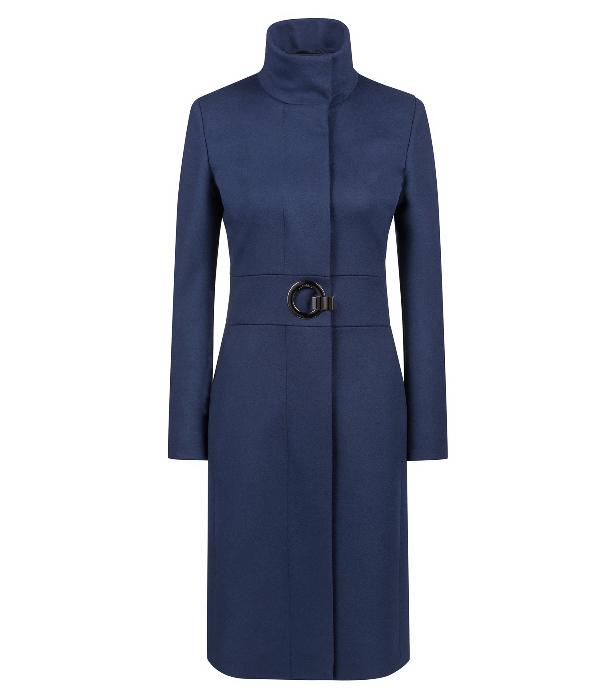 Regular-fit coat in a virgin wool blend, Dark Blue
