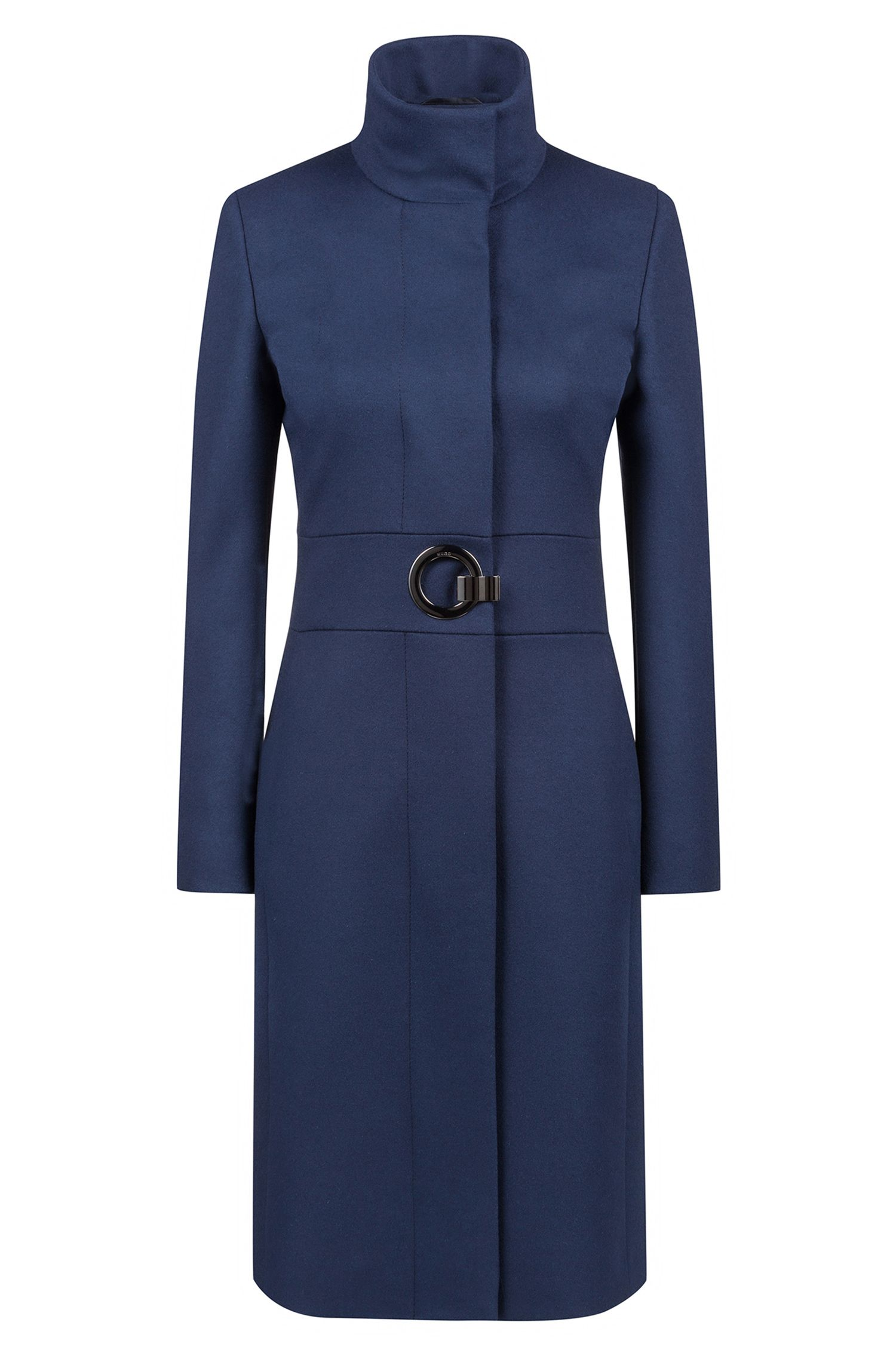 Cappotto regular fit in misto lana vergine