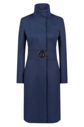 Cappotto regular fit in misto lana vergine, Blue Scuro