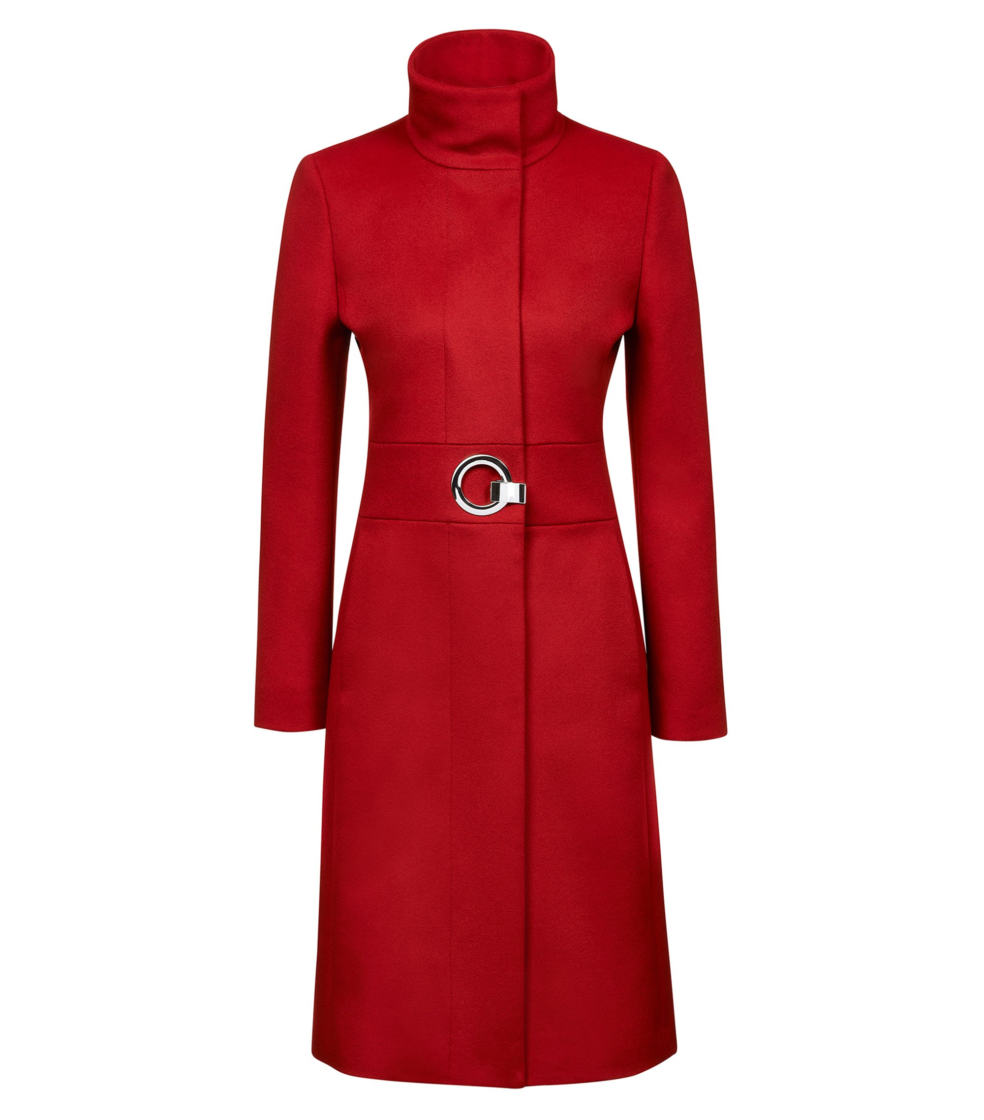 Regular-fit coat in a virgin wool blend, Red