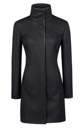 Slim-fit virgin wool blend coat with piping, Schwarz