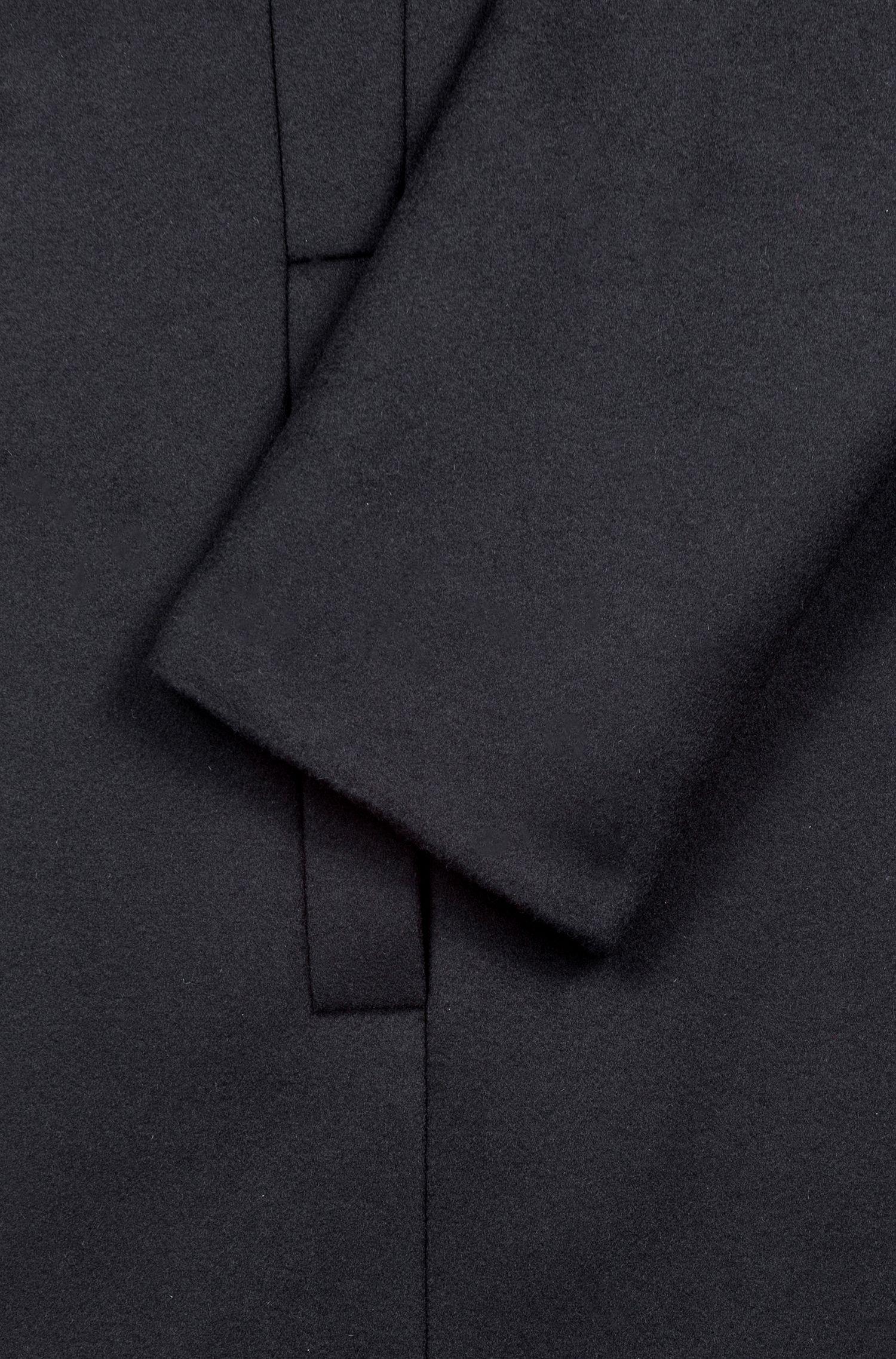 Slim-fit virgin wool blend coat with piping, Black