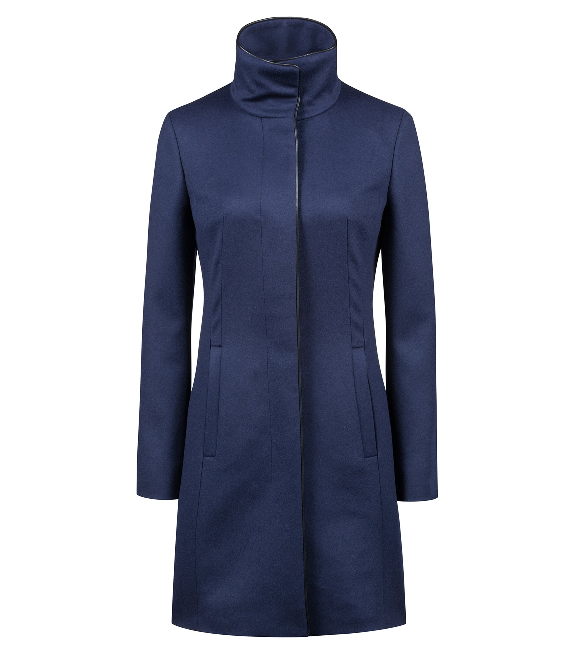 Cappotto slim fit in misto lana vergine con profili, Blu scuro
