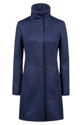 Cappotto slim fit in misto lana vergine con profili, Blue Scuro