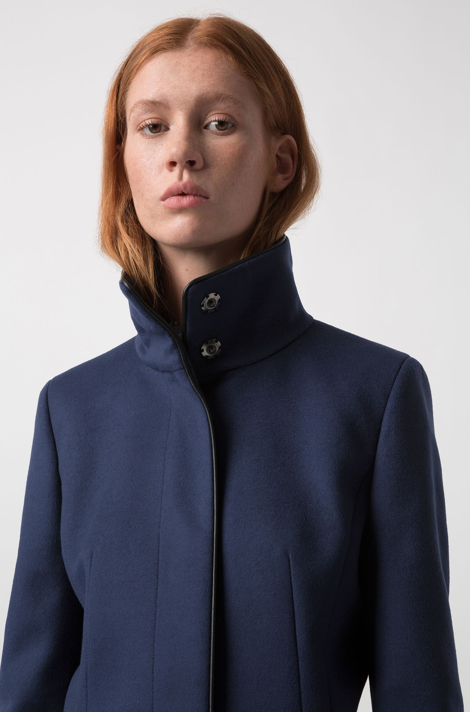 Slim-fit virgin wool blend coat with piping