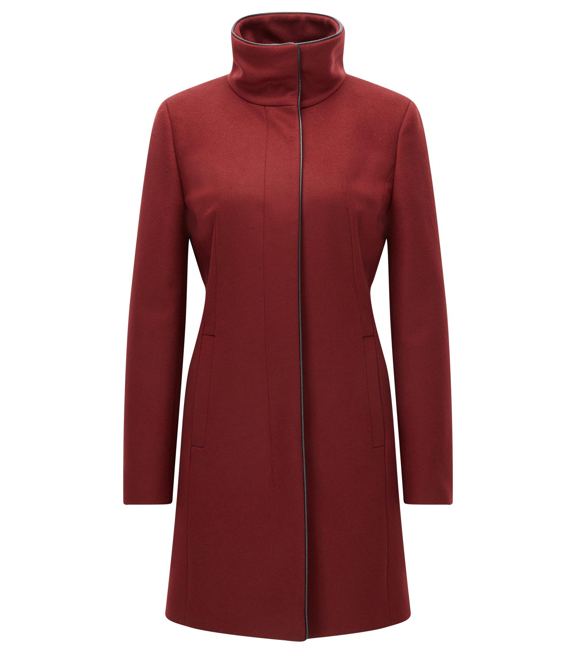 Abrigo slim fit en mezcla de lana virgen con ribetes, Rojo oscuro