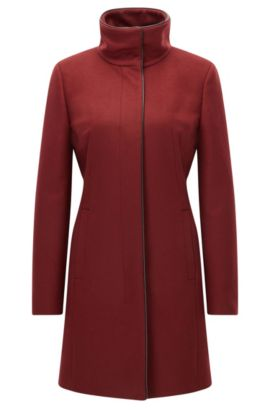 Slim-fit virgin wool blend coat with piping, Dunkelrot