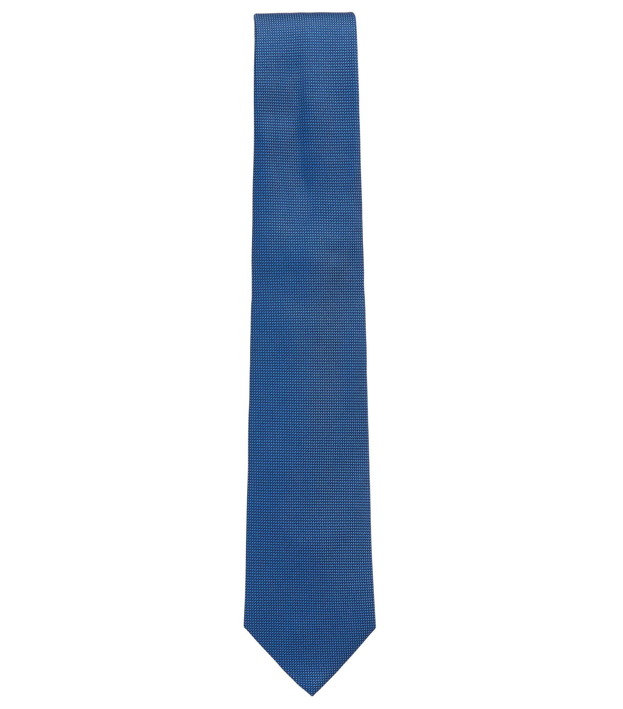 Cravate en jacquard de soie à motif fin, Bleu foncé