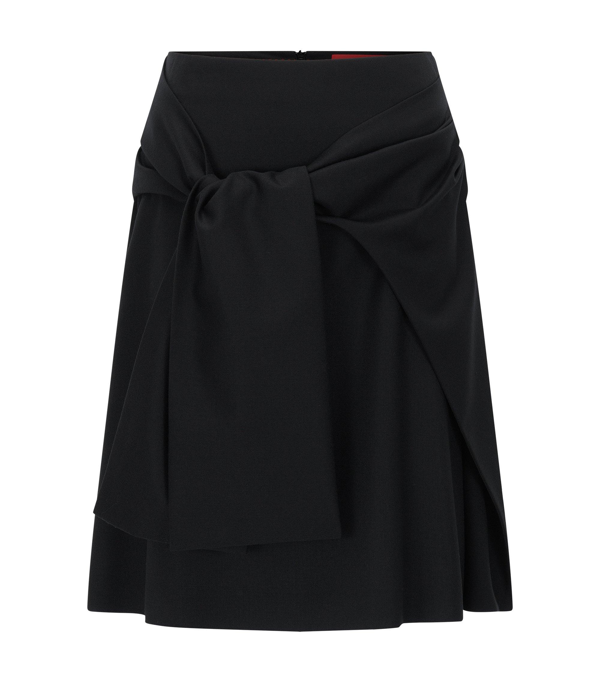 Regular-Fit Rock aus Stretch-Schurwolle mit drapiertem Gürtel, Schwarz