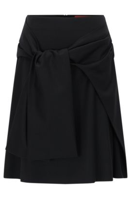 A-line flannel skirt with draped belt detail, Black