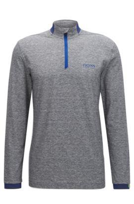 Regular-fit zip-neck technical polo shirt, Grey