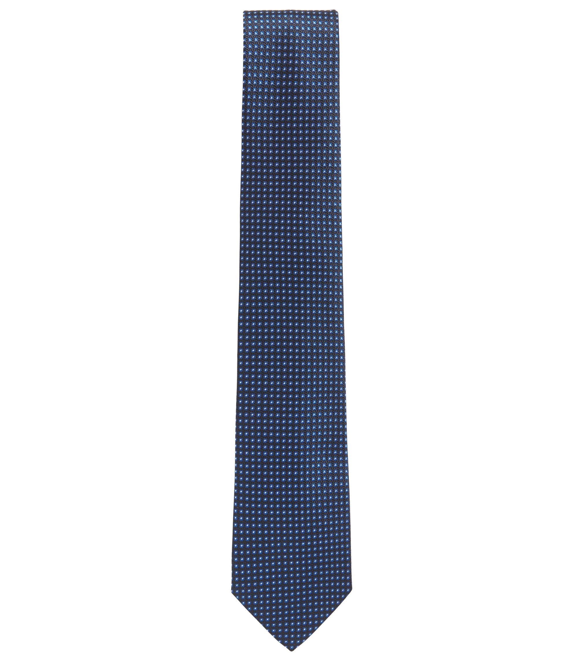 Stropdas in een zijdejacquard met microdessin, Donkerblauw