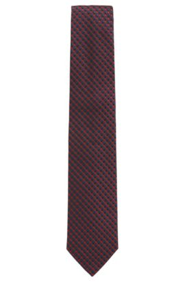 Micro-pattern tie in silk jacquard, Red