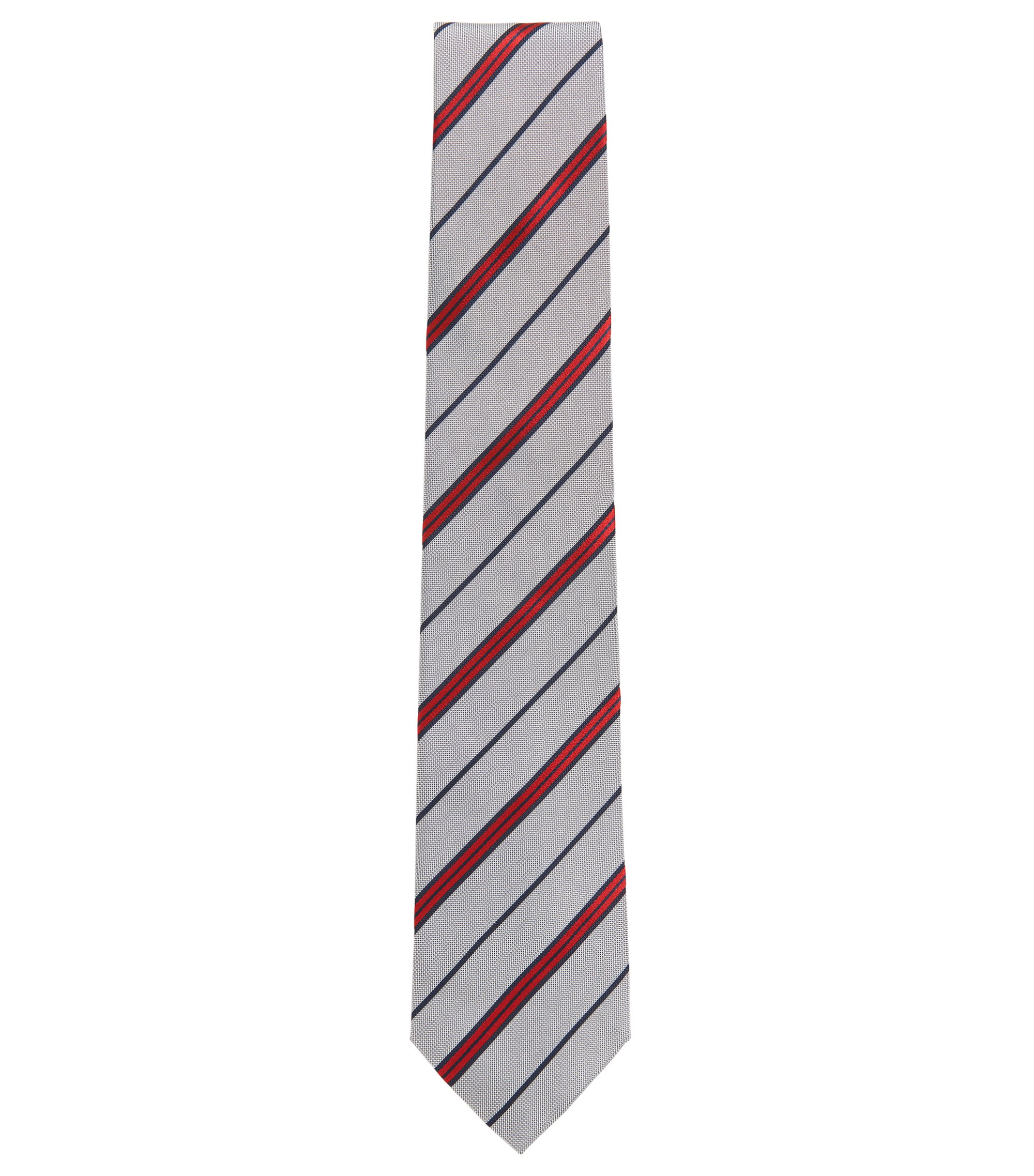 Striped tie in yarn-dyed silk, Grey