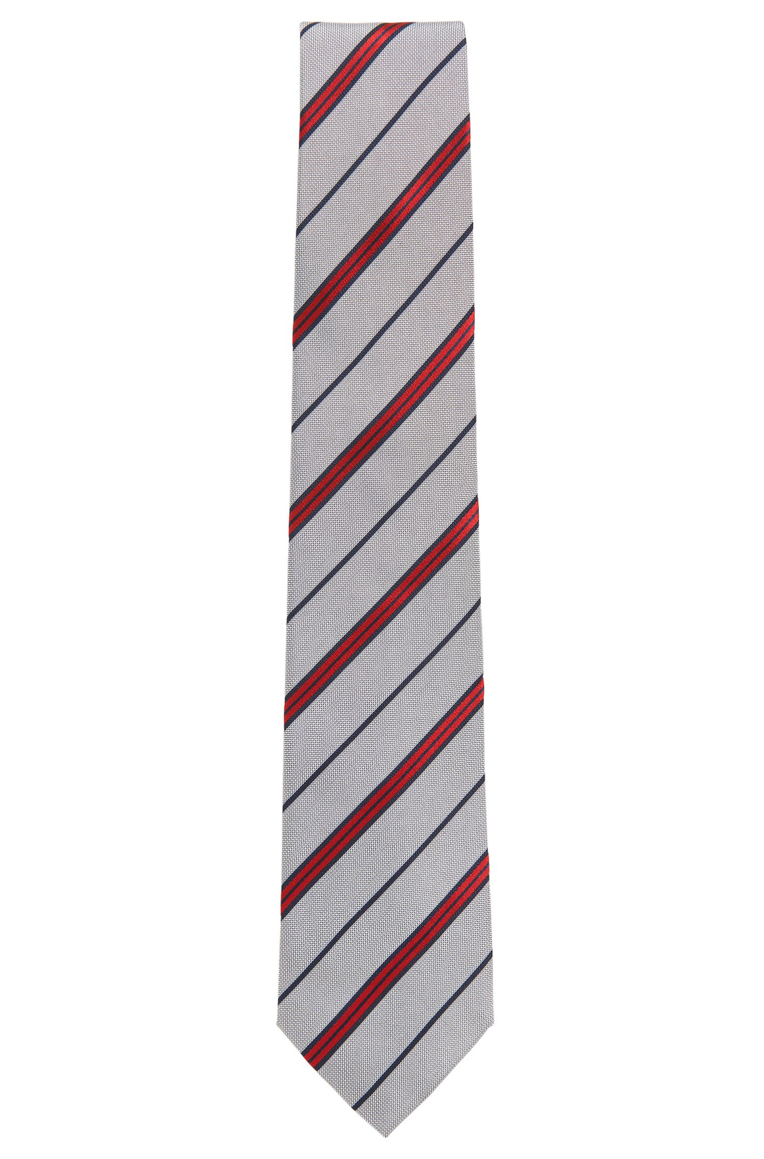 Gestreepte stropdas van garengeverfde zijde
