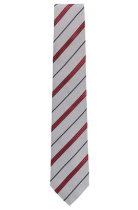 Striped tie in yarn-dyed silk, Open Grey