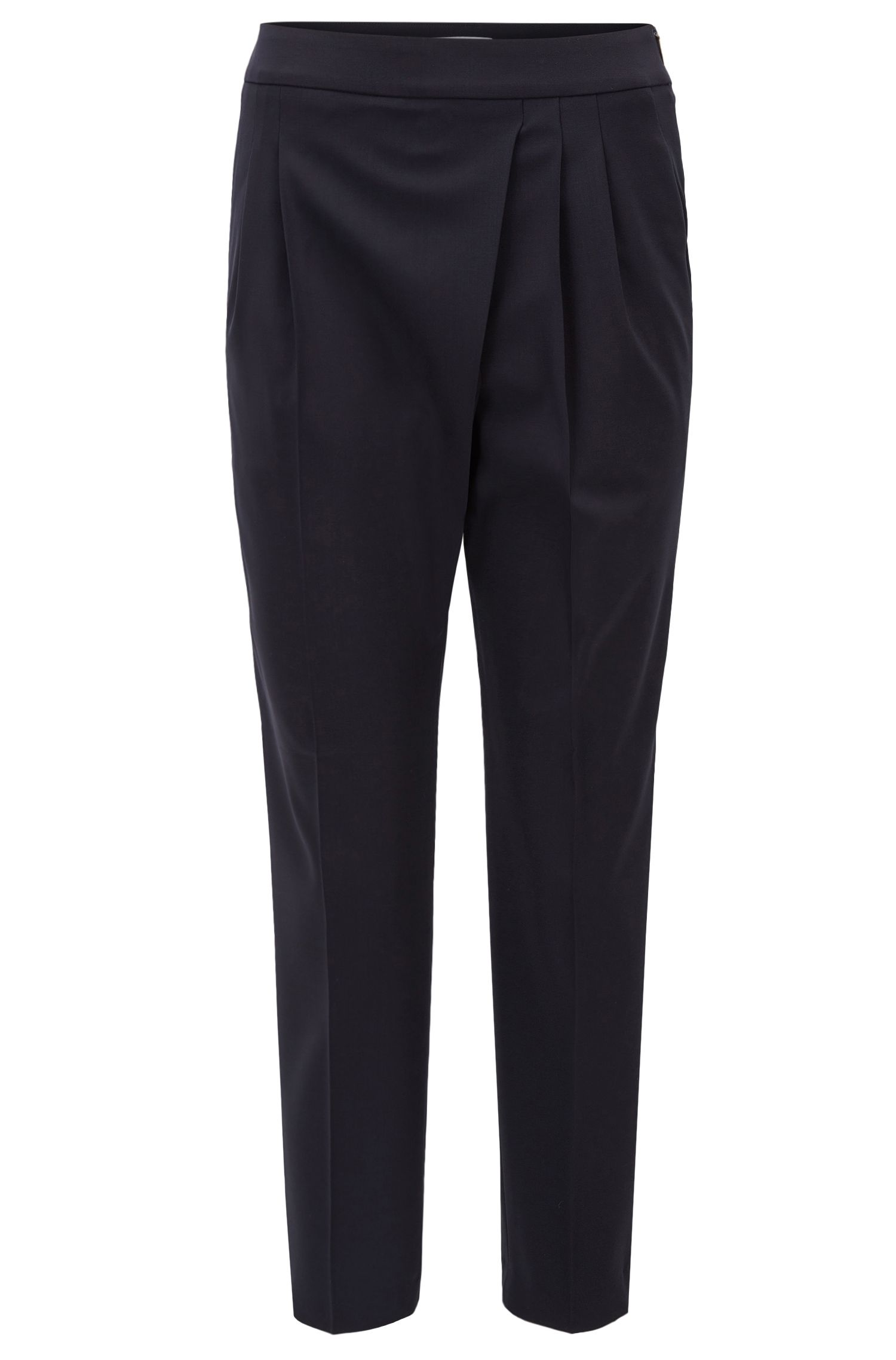 Pantalon court Regular Fit en laine stretch à détail plissé