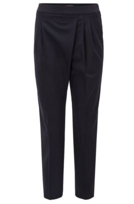 Regular-fit cropped trousers in stretch wool with pleat detail, Dark Blue