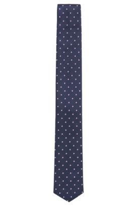 Waterproof tie in patterned silk jacquard, Blue