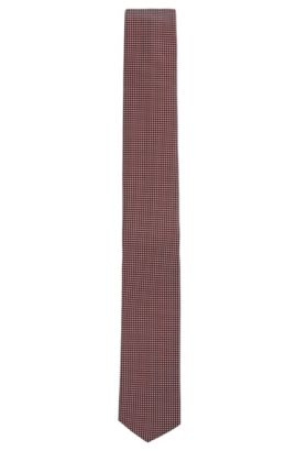 Waterproof tie in patterned silk jacquard, Red