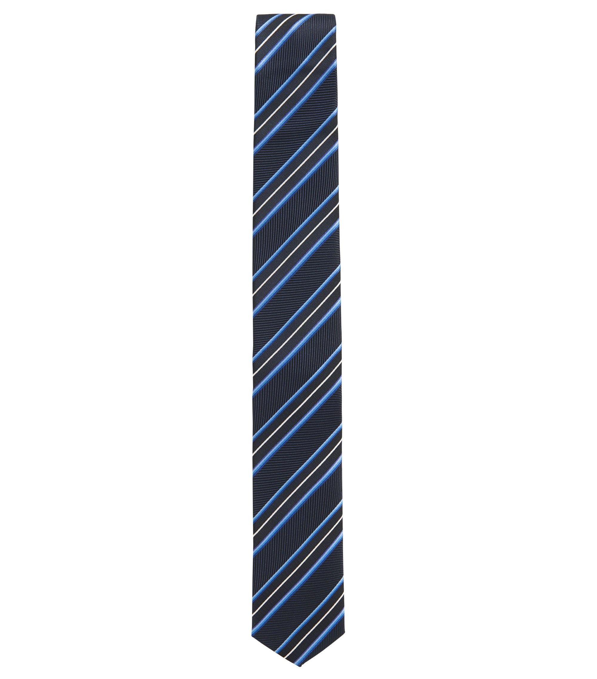 Cravate en soie à rayures texturées en forme de lame de scie, Bleu foncé