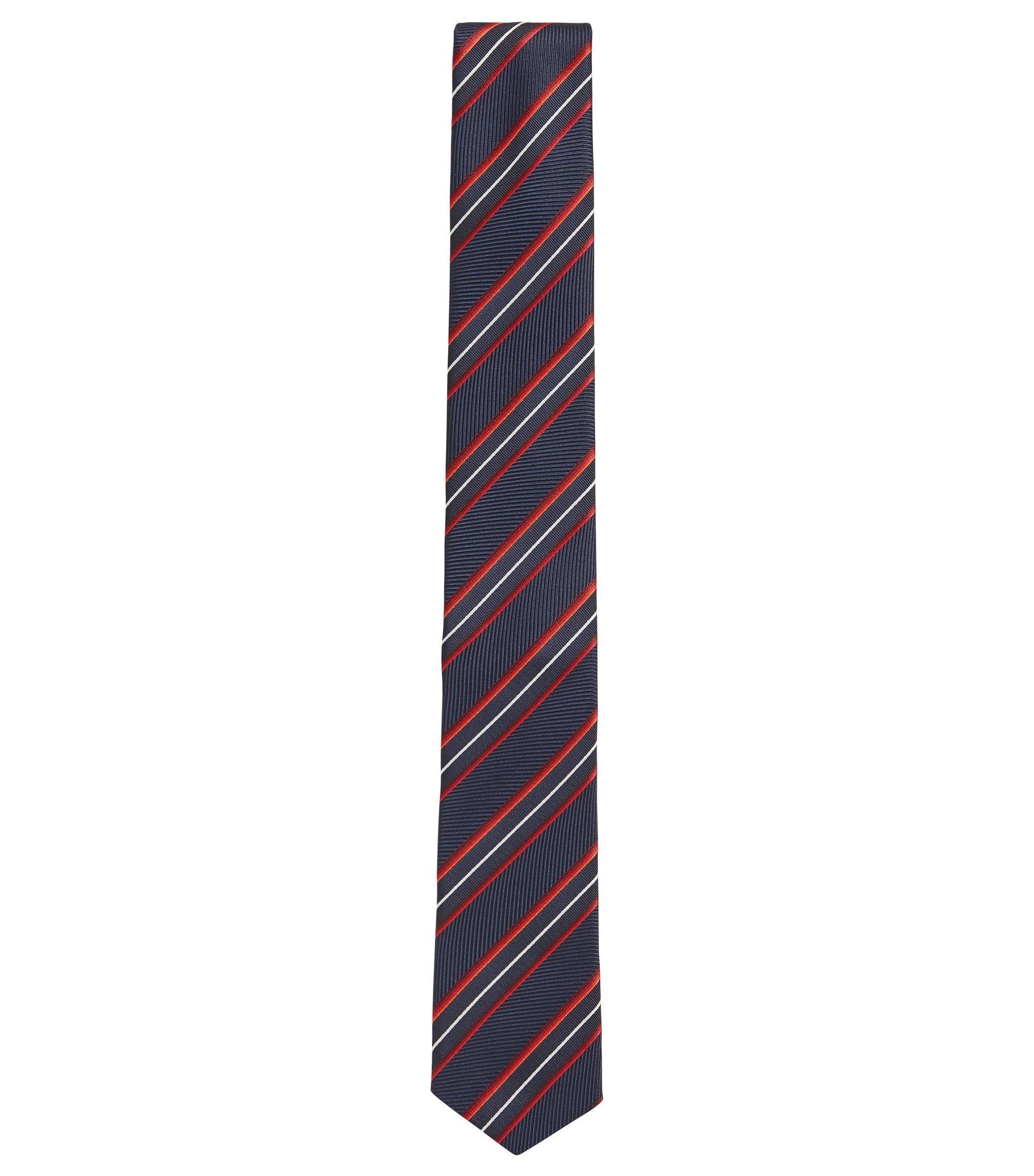 Corbata de seda con textura a rayas y extremo en punta, Rojo