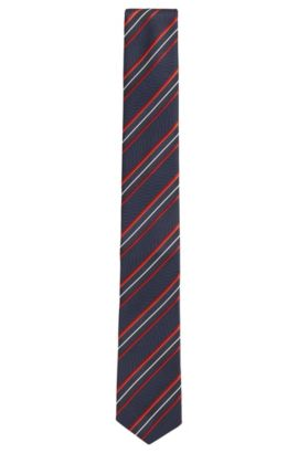Textured-stripe silk tie with a shaped blade, Rosso
