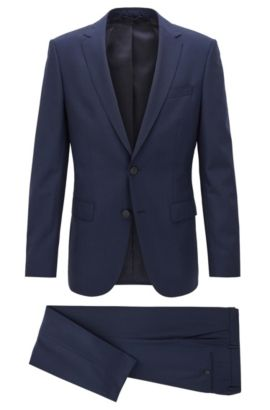 Slim-fit travel suit in checked virgin wool, Dark Blue
