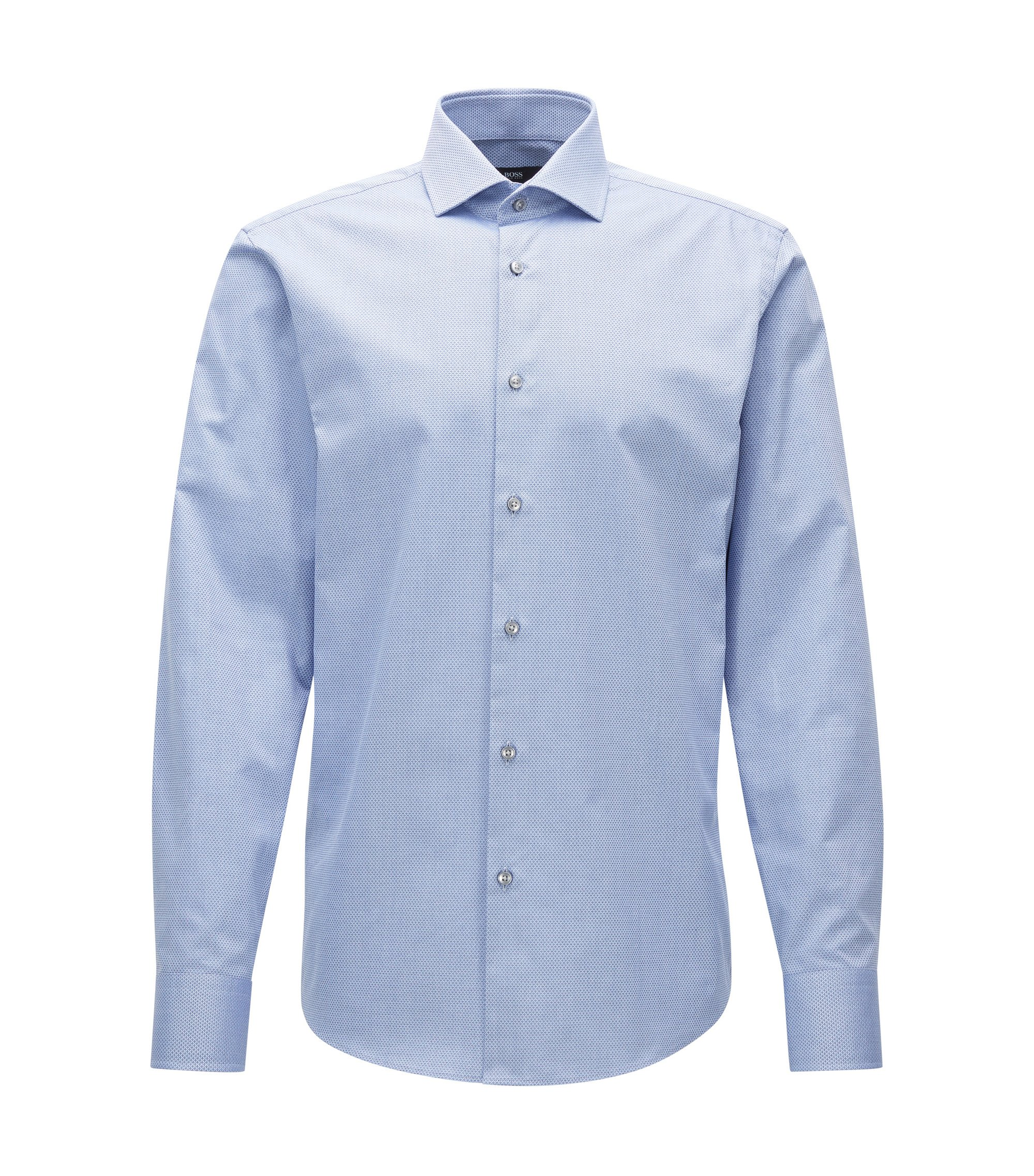 Regular-fit overhemd van gestructureerde katoen , Lichtblauw