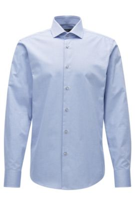 Regular-fit shirt in structured cotton , Light Blue