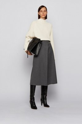 Relaxed-fit sweater in pure cashmere with funnel neck, White