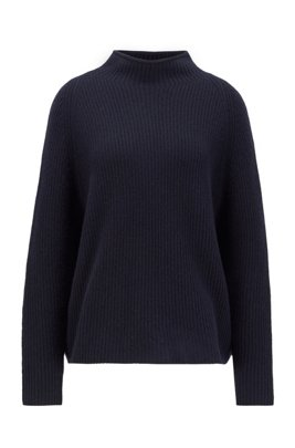 Relaxed-fit sweater in pure cashmere with funnel neck, Light Blue