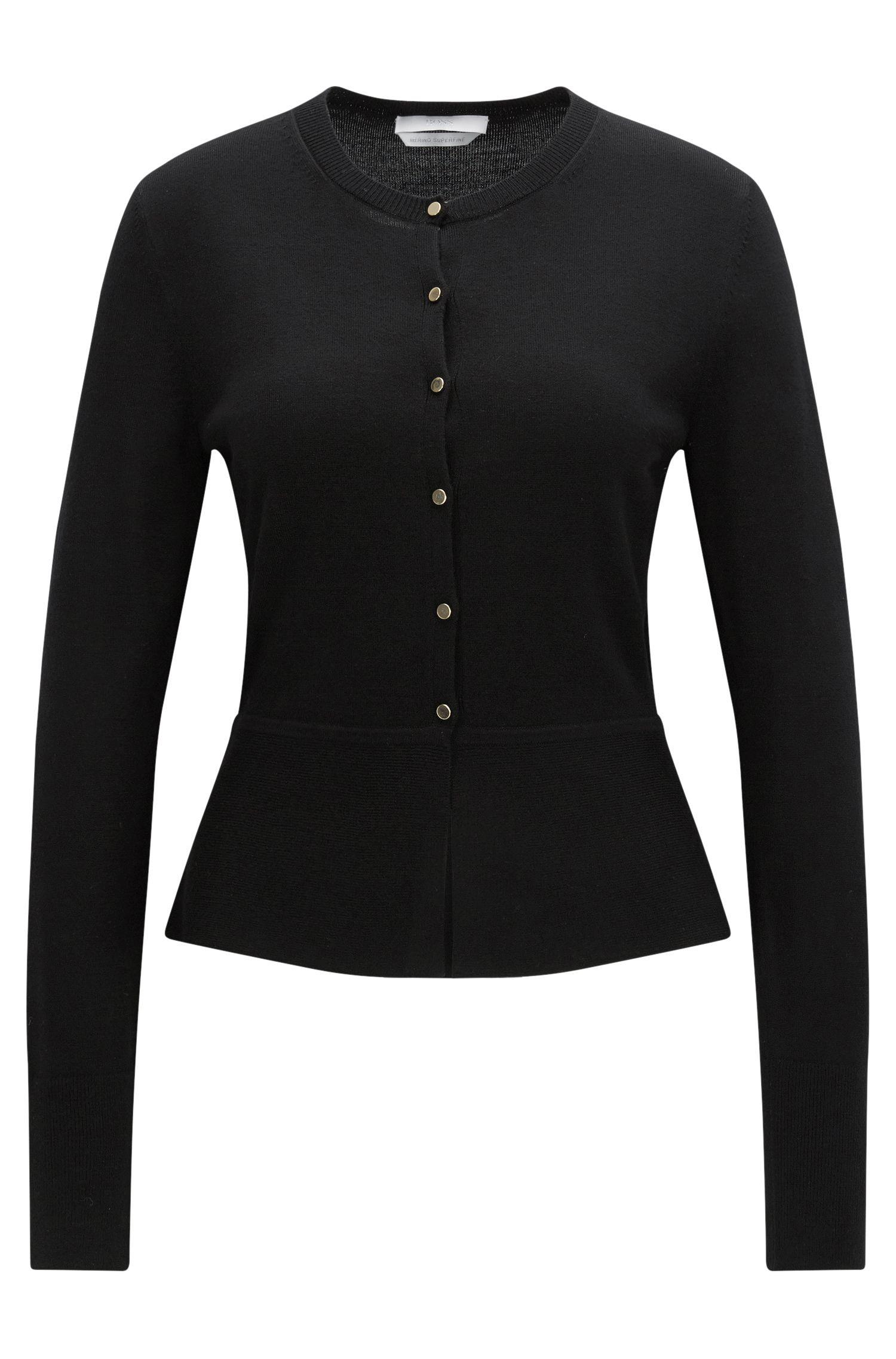 Button-through cardigan in mercerised virgin wool