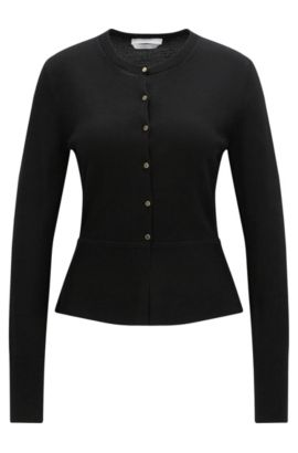 Button-through cardigan in mercerised virgin wool, Black