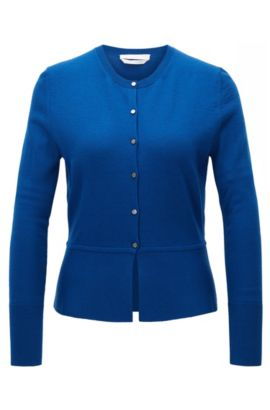 Button-through cardigan in mercerised virgin wool, Blue
