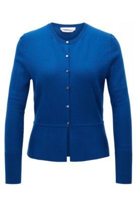 Vest van gemerceriseerde scheerwol met knoopsluiting, Blauw