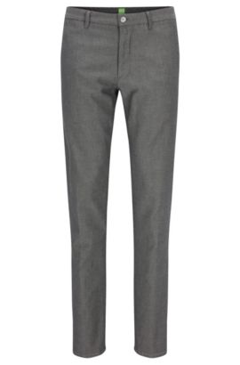 Slim-fit trousers in stretch cotton, Grey